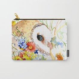 Barn Owl and Flowers, Owl Floral design Owl art Carry-All Pouch