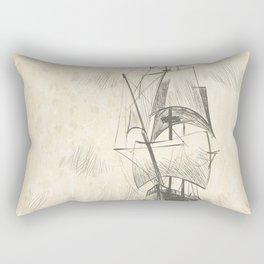Vintage hand drawn galleon background Rectangular Pillow