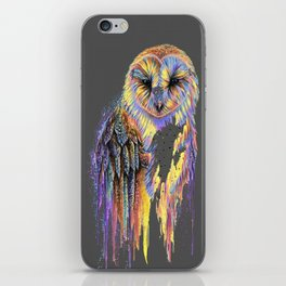 Colorful Owl Dark Background iPhone Skin