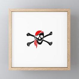 Skull and Crossbones Eye Patch Black and Red Bandanna Framed Mini Art Print