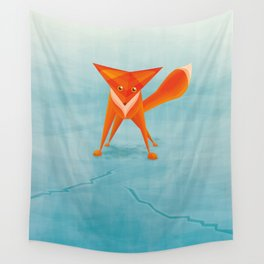 Fox on ice Wall Tapestry