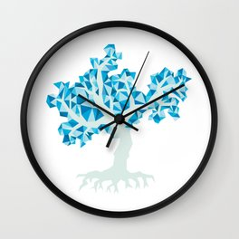Blue Tree Wall Clock