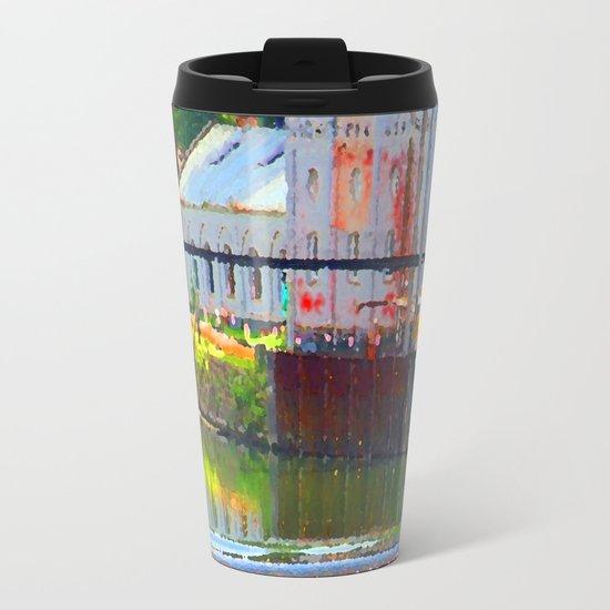 Pointillism: Snoqualmie Falls Metal Travel Mug