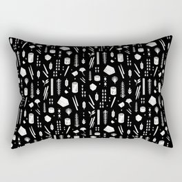 Sticks and Stones (Black) Rectangular Pillow