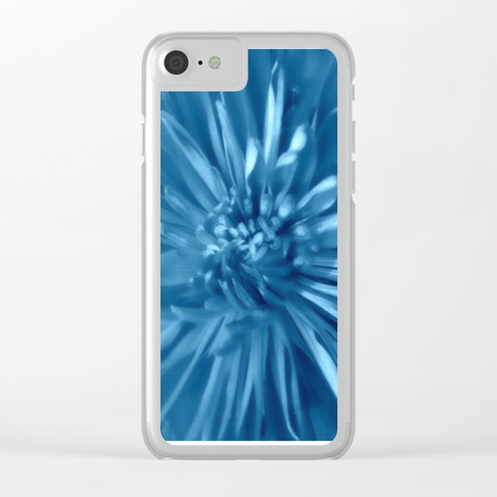 Soft Sky Blue Mums Clear iPhone Case