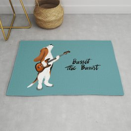Basset the Bassist (Blue-Gray) Rug
