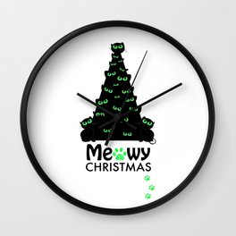 Christmas tree with black cat. ''Meowy Christmas'' text with paw prints. Happy new year greeting car Wall Clock