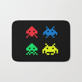 space aliens invaders stylish gamer art Bath Mat