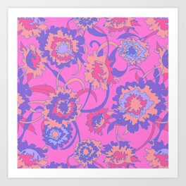 Bold Tropical Floral in Neon Pink + Purple Art Print