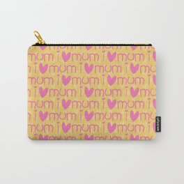 Pink yellow hand painted watercolor I love mum typography Carry-All Pouch