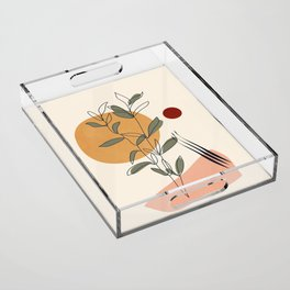 Minimal Line Young Leaves Acrylic Tray