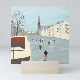 Ice Skating in Amsterdam Mini Art Print