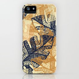 jungle tangle – navy, blush, gold iPhone Case