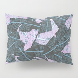 Miami Beach Banana Leaves Repeat in Electric Pink + Green Pillow Sham