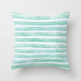 Green Stipes Throw Pillow