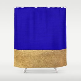 Color Blocked Gold & Cerulean Shower Curtain