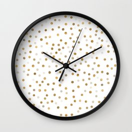 Girly Gold Dots Confetti White Design Wall Clock