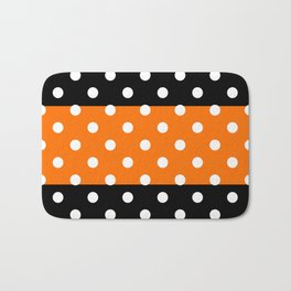 Extra Large White Polka Dots on Orange and Black Stripes Bath Mat
