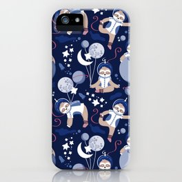 Best Space To Be // navy blue background indigo moons and cute astronauts sloths iPhone Case