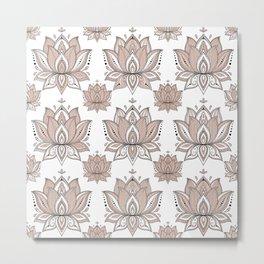 Lotus Mandala Doodle Pink Marble Pattern Metal Print