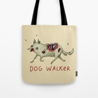 kieren walker Tote Bags featuring Dog Walker by Sophie Corrigan