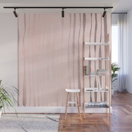 Rose Gold Pastel Pink Vertical Stripes Wall Mural