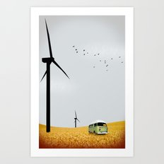 green wagon Art Print