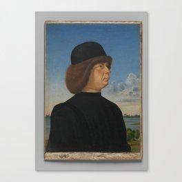 Portrait of Alvise Contarini (verso) A Tethered Roebuck,ca. 1485–95 Canvas Print