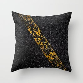Old Yellow painted line on asphalt road Throw Pillow