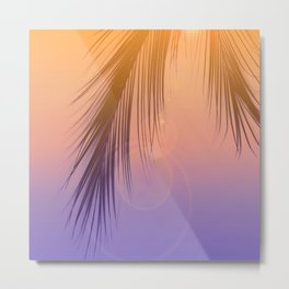 Palm Leaf Silhouette Orange Violet Background #decor #society6 #buyart Metal Print