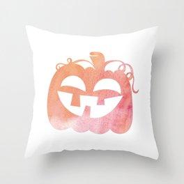 Halloween Watercolor Pumpkin Face Orange & Pink 3 Throw Pillow