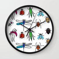 bugs Wall Clocks featuring Bugs by Rita Sales Luis