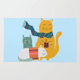 Cat cuddle -Hand Draw Rug