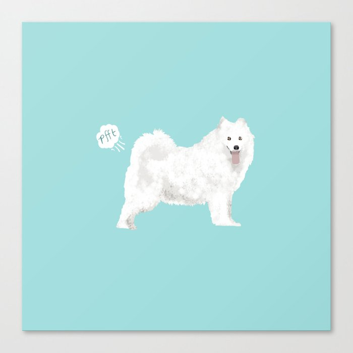 samoyed funny farting dog breed pure breed pet gifts Canvas Print