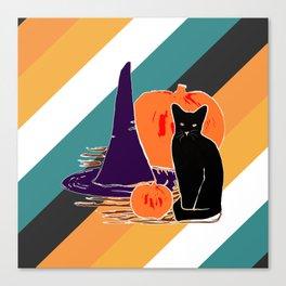 Witch Cat Pumpkin in Candy Corn Canvas Print