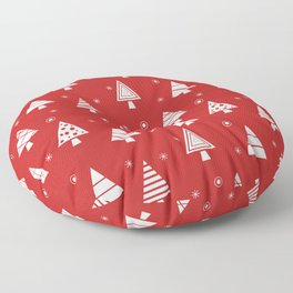 Holiday Christmas Tree Pattern (cranberry) Floor Pillow