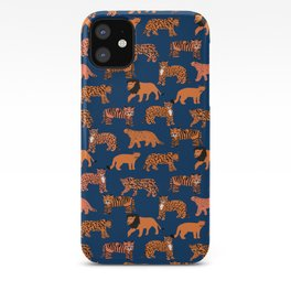 Big Cats pattern - leopard, cougar, tiger, lion, cats safari art, navy tiger, orange tigers, tiger art, animals art iPhone Case
