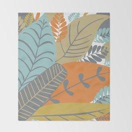 Bright Tropical Leaf Retro Mid Century Modern Throw Blanket