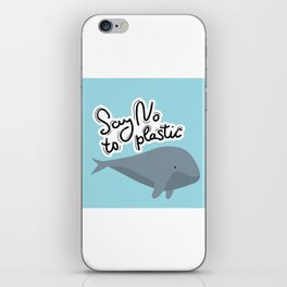 Say no to plastic. Whale, sea, ocean.  Pollution problem concept Eco, ecology banner poster. iPhone Skin