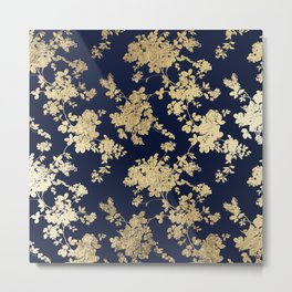 Elegant vintage navy blue faux gold flowers Metal Print