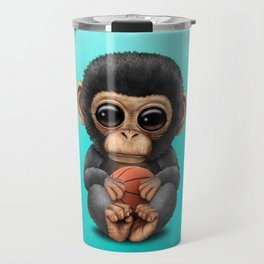 Cute Baby Chimp Playing With Basketball Travel Mug