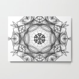 Star Light Mandala Black & White Metal Print