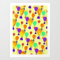 hot air balloons Art Prints featuring Hot Air Balloons (Yellow) by Ingrid Castile