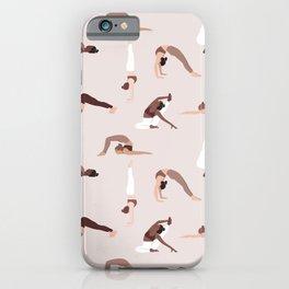 Woman yoga poses international pattern iPhone Case