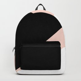 Elegant blush pink & black geometric triangles Backpack