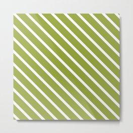 Olive Diagonal Stripes Metal Print