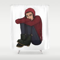 zayn Shower Curtains featuring Comfy Zayn by Ashley R. Guillory
