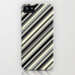 Dim Grey, Light Yellow, Dark Grey & Black Colored Striped Pattern iPhone Case