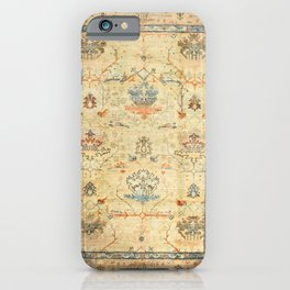 Fine Crafted Old Century Authentic Colorful Yellow Dusty Blues Greys Vintage Rug Pattern iPhone Case