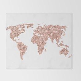 Rose Gold Glitter World Map Throw Blanket
